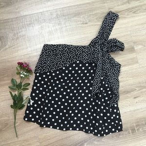 J. Crew Tops - J Crew Polkadot Silk One Shoulder Bow Top